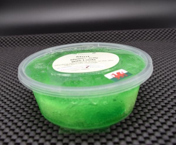 shower jelly mint loofa